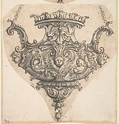 Design for Suspended Censer with Three Winged Cherub Heads at Chain Fastenings.