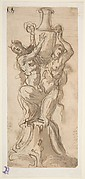 Design for a Statue consisting of a Satyr and Satyress Lifting a Vase