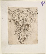 Design for a Console Decorated with Volutes, Leaves, and the Head of a Putto.