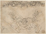 Designs for a Palmette Motif with Tendrils (recto); studies for a Male Figure and Decorative Sculpture (verso)