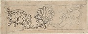 Design for a Frieze Decorated With a Palmette and Tendrils (recto); Two Designs for a Rosette (verso).