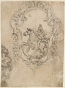 Design for an Equestrian Statue in a Frame Decorated with Volutes and Garlands (Recto). Sketches for a Frieze with Sea-Shells and Floral Ornament (Verso).