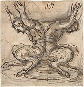 Design for the Base of a Vessel with Two Satyrs.