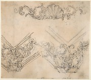 Designs for Sculptural Friezes with Sea Shells, Garlands and Floral Volutes (Recto). Design for Two Ornamental Frames Decorated with Volutes, Garlands and the Head of a Putto (Verso).