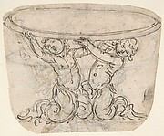 Design for a Plate Supported by Two Putti with Tails (Recto). Sketch for the Same Subject (Verso) .
