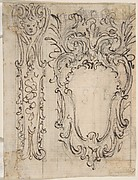 Designs for a Pilaster Ornament and Cartouche (recto); Design for a Window or a Wall Plaque (verso).
