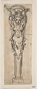 Design for a Bed Alcove Detail or Pedestal with a Winged Caryatid Motif.