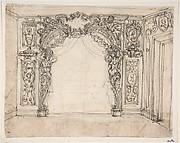 Design for a Doorway with Two Caryatids Supporting an Arch and Coat of Arms Flanked by Two Putti.