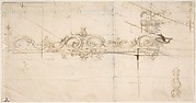 Design for the Crowning Decorations of a Gate (recto); Sketches of Stone Blocks with Measurements (verso)