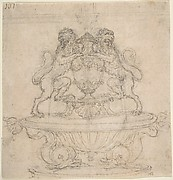 Design for a Fountain with an Urn and Two Water-Spouting Lions Supported by Dolphins (Recto).  Sketch for Triumph of Galatea[?] (Verso).