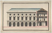 Design for the Collège de France, Paris: Elevation of the Wings of the Court with a Transverse Section through Main Front