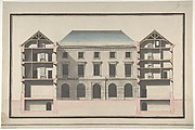 Design for the Collège de France, Paris: Elevation of Court Front with Traverse Sections Through Side Court Wings