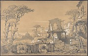 Design for a Stage Set at the Opéra, Paris: Landscape Looking Toward Rome