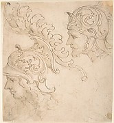 Two Studies for Helmeted Heads seen in Right Profile.