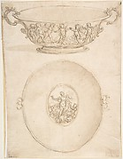 Two Views of a Design for a Shallow (Drinking?) Bowl wih Handles