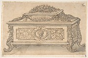 Design for an Casket heavily decorated Foliate Scrolls, Garlands and a Satyr Mask