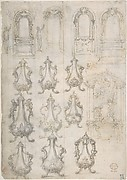 Studies for Coffee Urns, Arched-top Altars, and an Altar Project for the Baptistery of Florence Cathedral (Recto). Studies for Chapels and Portals (Verso).