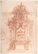Design for a Catafalque (recto); Female Saint Kneeling on Clouds under an Arch, and a Design for the Pinnacle of the Catafalque (verso)
