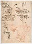 Studies of Architectural Moldings, of the Virgin and Child with a Kneeling Saint, and of Two Angels Supporting Frames (recto); Studies for Architectural Mouldings (verso)
