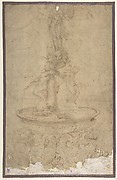 Design for a Fountain with Sea Horses and Triton Base, Basin, Dolphins and Tritons, Three Grotesque heads and Neptune