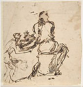 Seated Figure Receiving an Object Presented by a Smaller Figure