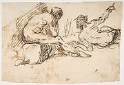 Two Nude Male Figures, One Seated and One Reclining