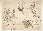 Studies of a Group of Seated Figures and of a Flying Figure
