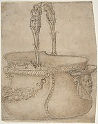 Design for a Bucket-Like Vessel with a Handle of Two Interlaced Captives, on a Body Adorned with a Scroll, Garland, and a Spout with a Satyr's Head.