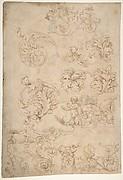 Sketchbook Sheet of Ornamental Studies, (recto and verso)
