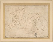 Winged Infant Riding a Crouching Horse