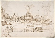 Figures Watching a Display of Fireworks at Castel Sant'Angelo, Rome (recto); A Distant View of the Fireworks Seen from a Villa Garden (verso)