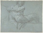 Satyr Reclining on a Ledge, Facing Right (recto); Satyr Reclining on a Ledge, Facing Left (verso)