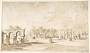 Gardens of the Villa Correr, near Strà (recto); Study for The Transverberation of Saint Teresa of Jesus and a Study of Hands (verso)