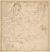 Two Studies of a Kneeling Male Figure