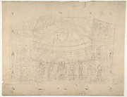 Design for a Stage Set at the Opéra, Paris: Domed Interior (recto); Sketches for Dome and Doors (verso)