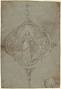 Drawing for a Standard with Christ in Glory Flanked by Putti