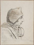 Head of a soldier in profile, with a sword handle