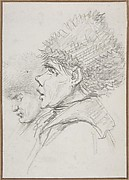 Profile of two soldiers wearing fur caps