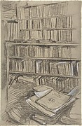 """Bookshelves, Study for """"Edmond Duranty"""""""