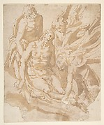 Design of Dead Christ Supported by Two Angels a Saint