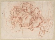 Study of a Putto Seated on a Corbel in a Shell Niche