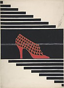 Red Pump with Triangular Openwork for Delman's Shoes, New York