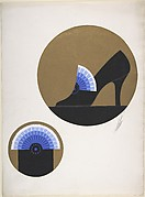 Black Pump with Blue Fan for Delman's Shoes, New York