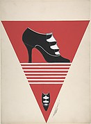Black Pump with Ruffled Vamp for Delman's Shoes, New York