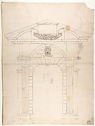 Porta Pia, elevation (recto) Porta Pia, window, elevation; section (verso)