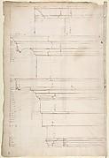 San Lorenzo, Library, Ricetto, entablature, elevation profile (recto) San Lorenzo, Library, Ricetto, column, elevation (verso)