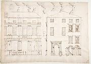 Villa Farnesina, Stables, half front elevation and end elevation (recto) Palazzo Salviati-Adimari, plan (verso)