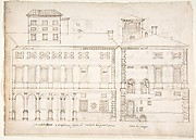 Palazzo Salviati-Adimari elevations (recto) Villa Farnesina stables, plan and section; drawing of a screw (verso)