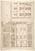Unidentified Palace, section and half elevation (recto) blank (verso)