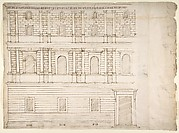 Palazzo Giroud Torlioni, elevation, cornice details (recto) Calculation table (verso)